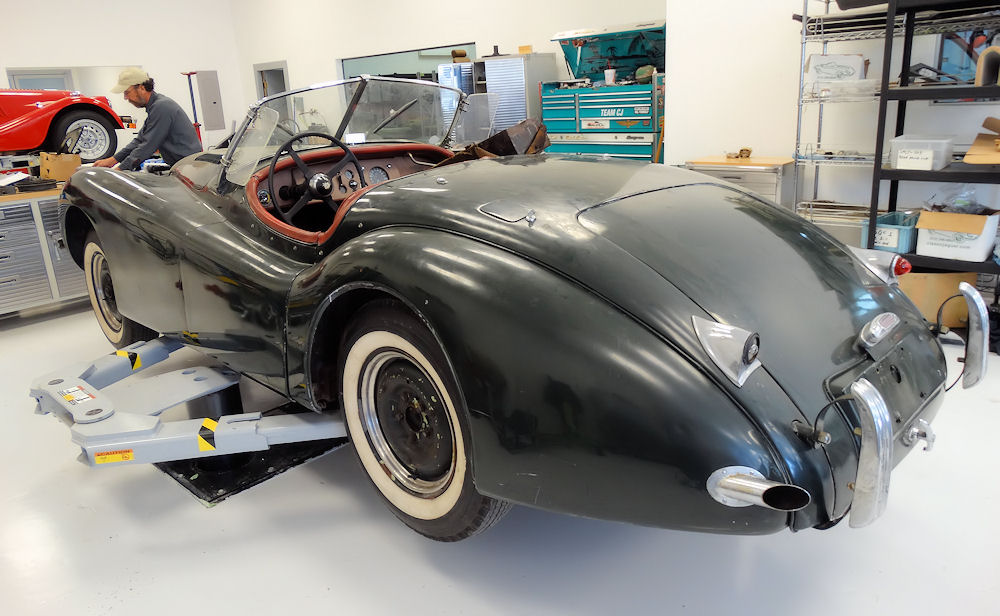 This is what they started with, a complete, yet slightly worn, 1950 Jaguar XK120