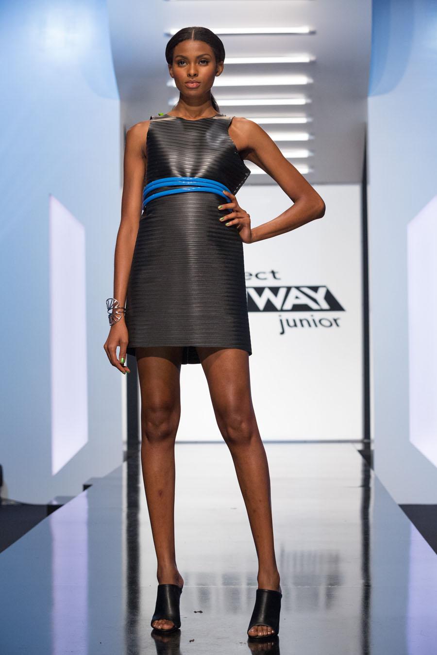 Tierra Benton wearing #DesignerVictoria Project Runway Junior S1 E2 An Unconventional Carwash