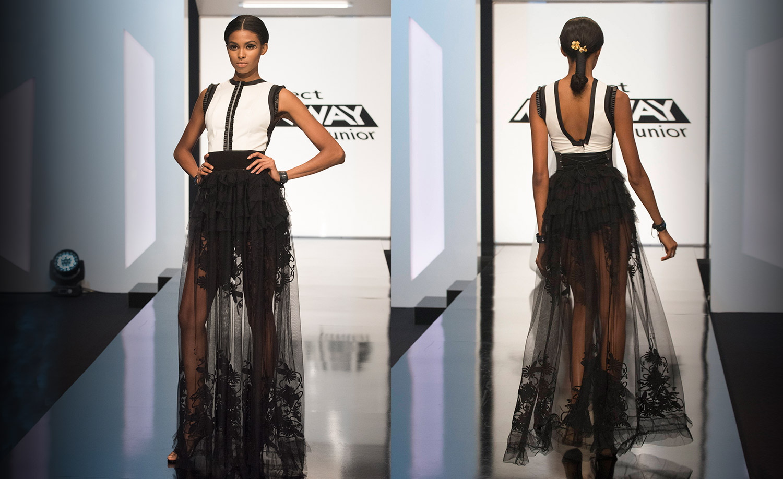 Tierra in a Project Runway Junior finale fashion week preview look by #DesignerMaya