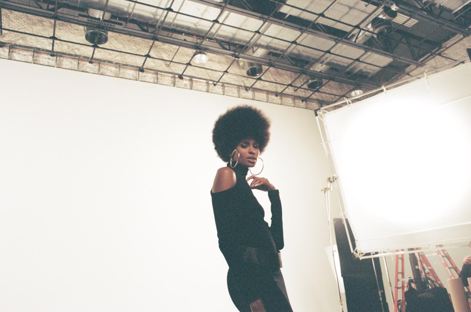 Tierra Benton on set with Pantene and Pulse Films - Film Photo by Nicole Ortero