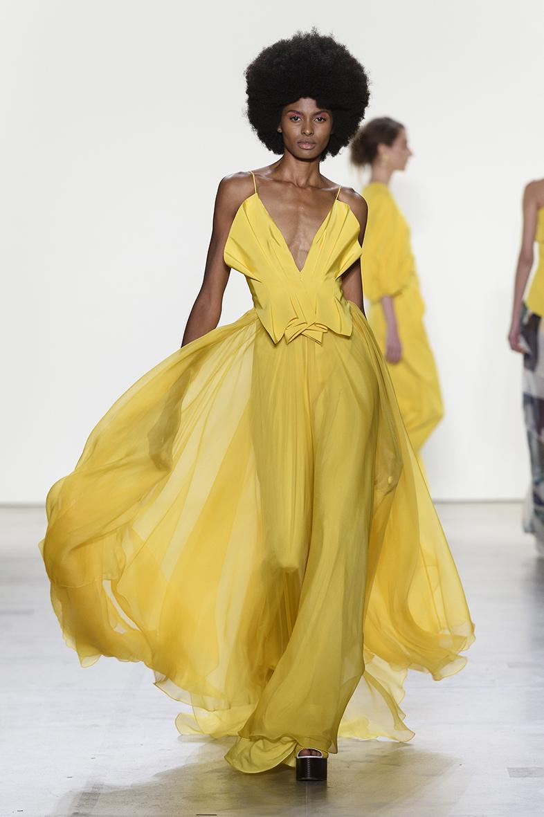 Model and wellness advocate Tierra Benton walking in designer, Leanne Marshall SS18
