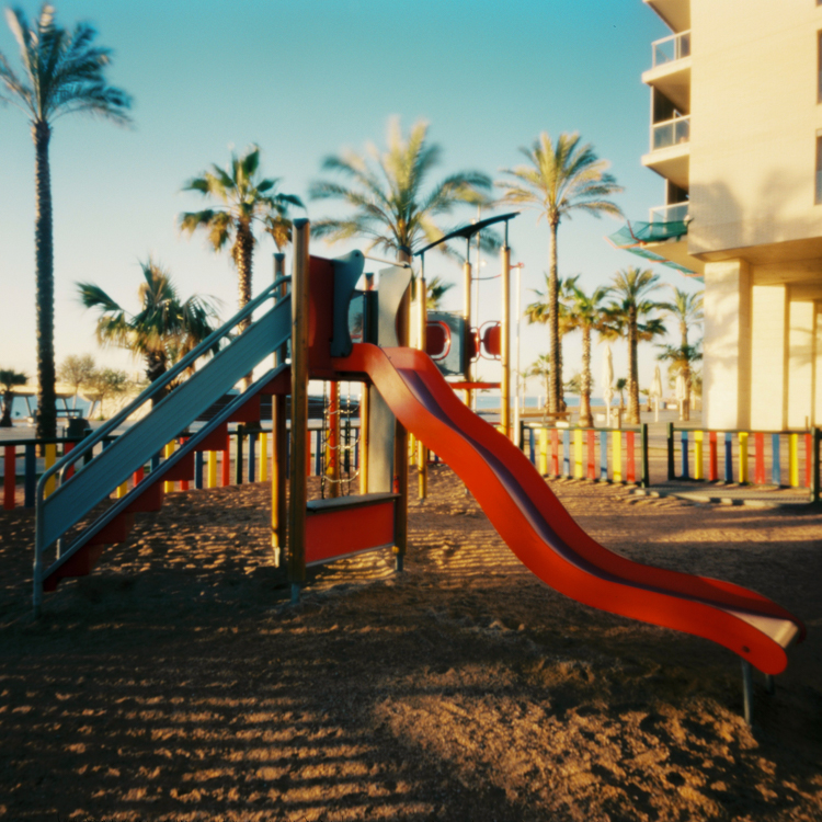 A slide, at sunrise
