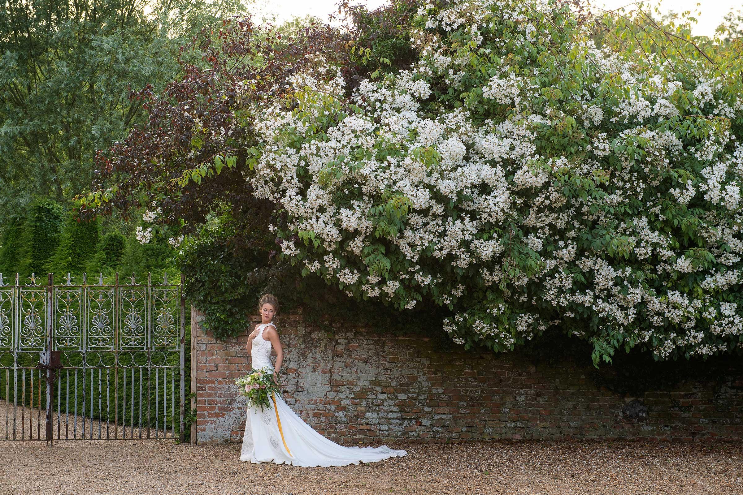 Wedding photography of bride at Hales Hall