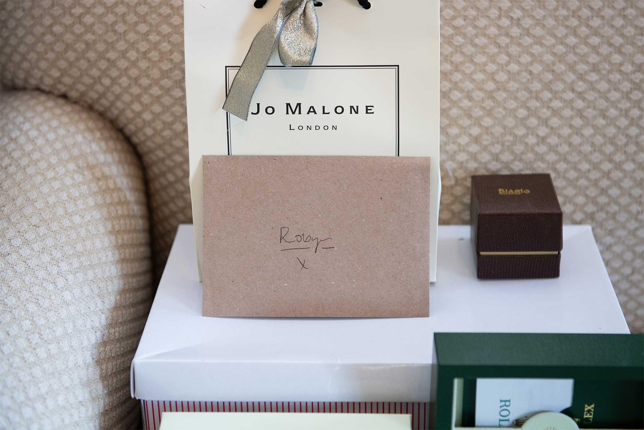 wedding gifts jo malone and rolex