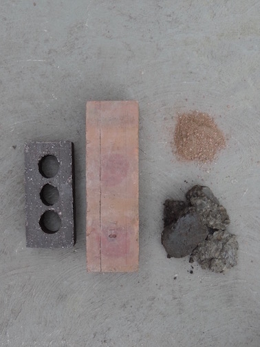 Bricks produced at the Acme/Ochs Plant (L) Cretaceous clay harvested near the plant (below R) Grog created by mechanically crushing waste brick (top R)