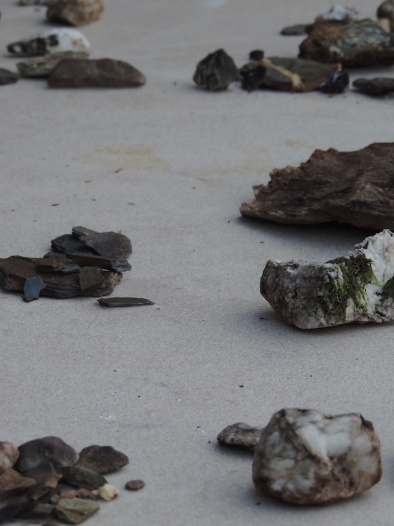 Various stones collected by participants to be crushed and used as aggregate in clay bodies