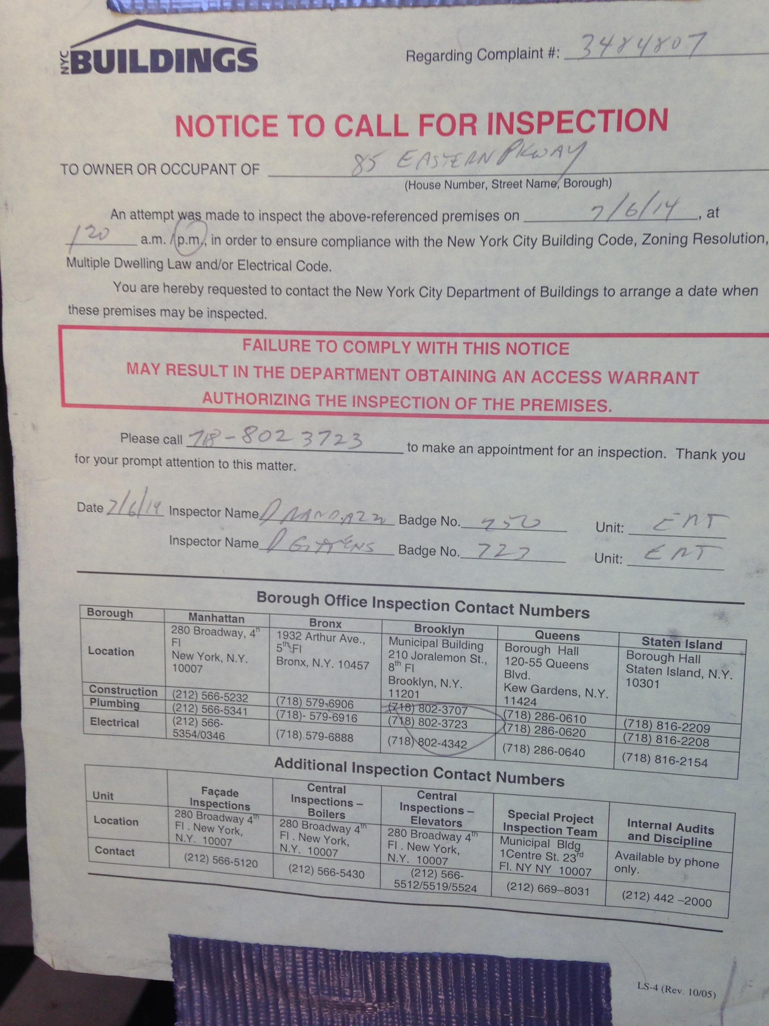 DOB inspection notice July '14