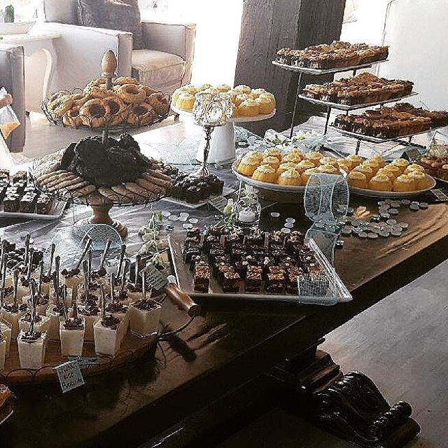Congratulations to Sondra and Aaron - a beautiful wedding on a beautiful day! • • Pictured dessert bar items: brownie bites, teacakes, lemon drop mini bundts, cookies, coconut rice pudding.
