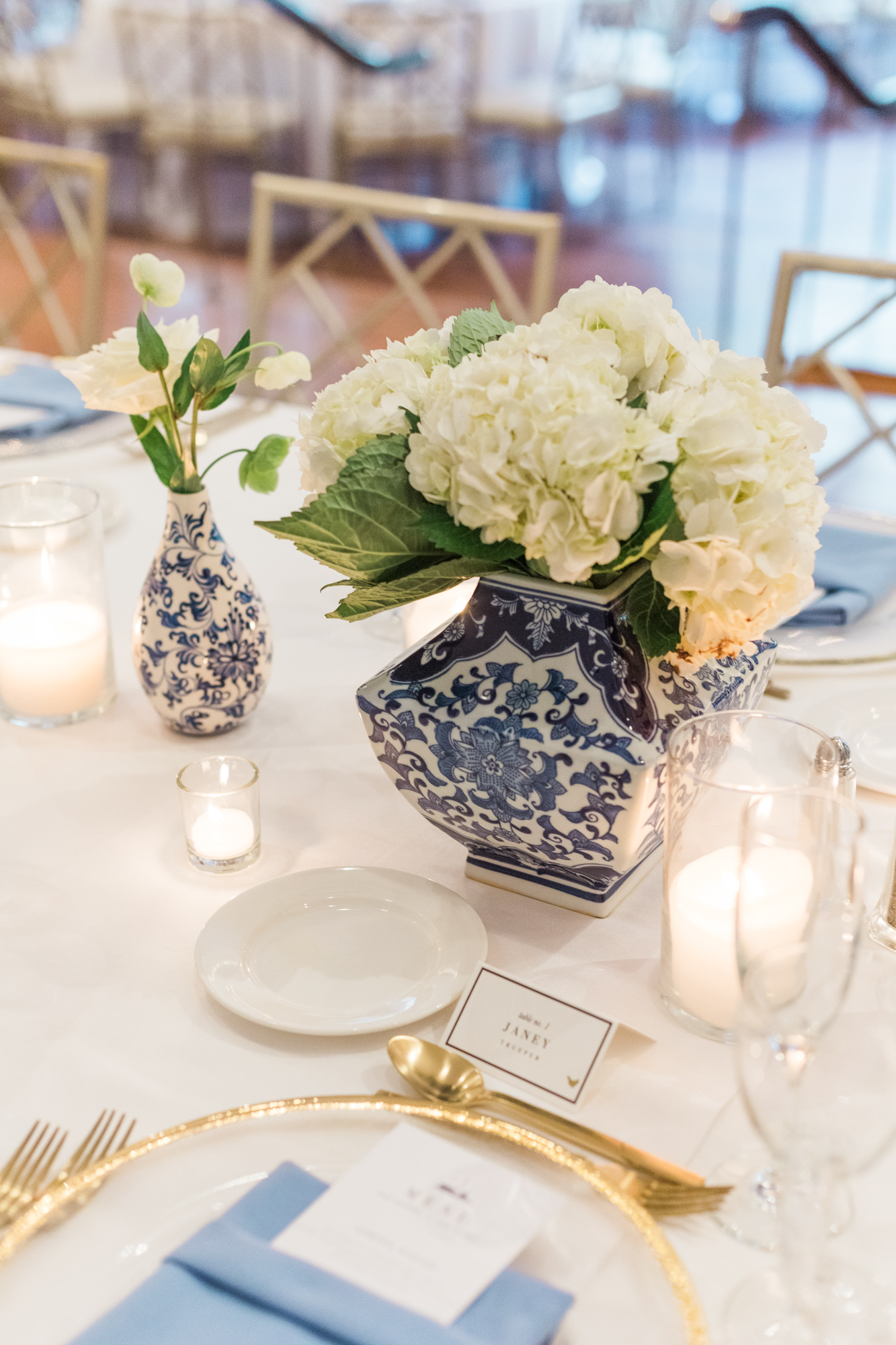 Blue and White Table Setting Washington DC Chinoiserie Wedding Plume Photography