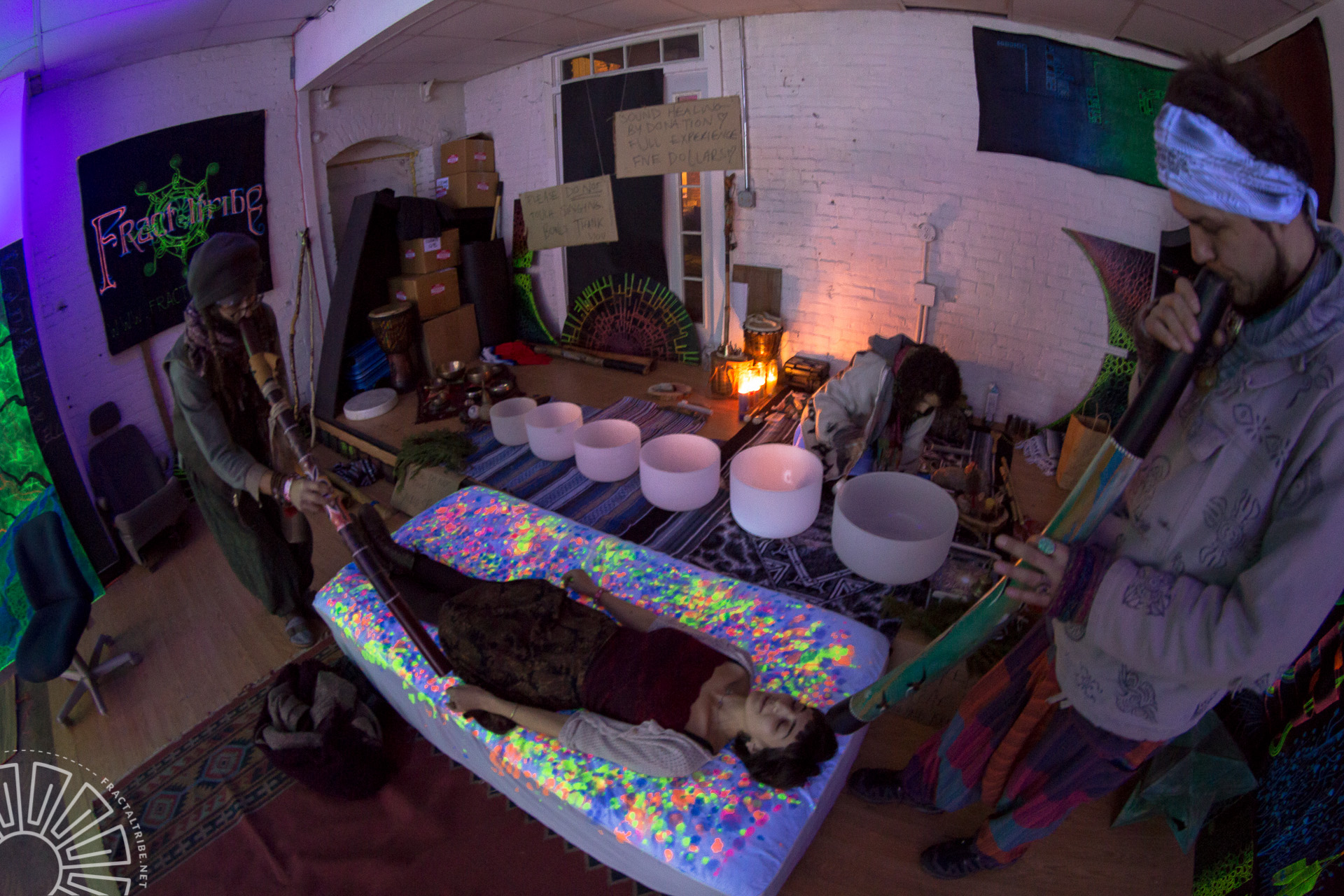Sound Healing in the Chill Space @ Fractaltribe's Year of the Fractilian NYE party 12/31/14 in Worcester, MA, USA