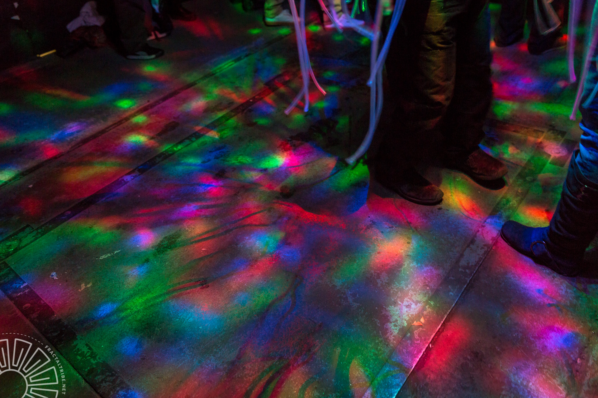 LED Jellyfish lighting on ground @ Fractaltribe's Year of the Fractilian NYE party 12/31/14 in Worcester, MA, USA
