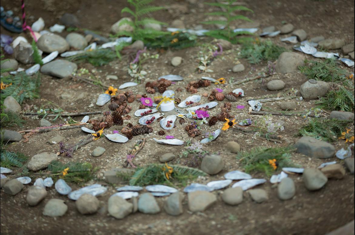Mandala using materials found at Fractalfest 2014 in Northeast Kingdom, Vermont