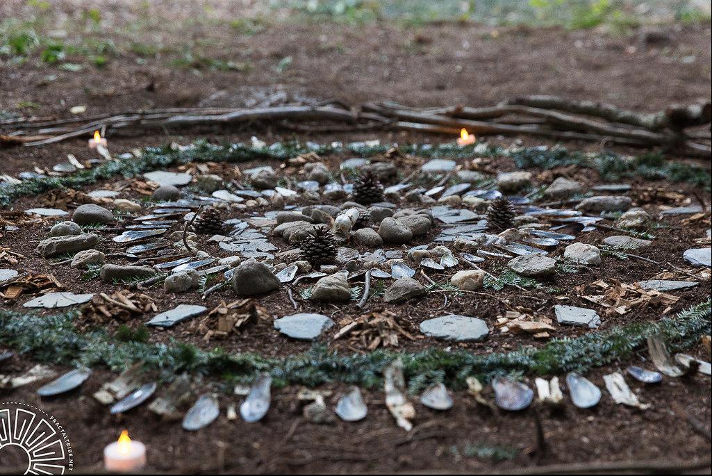 Mandala using materials found at Fractalfest 2015 in Upstate New York