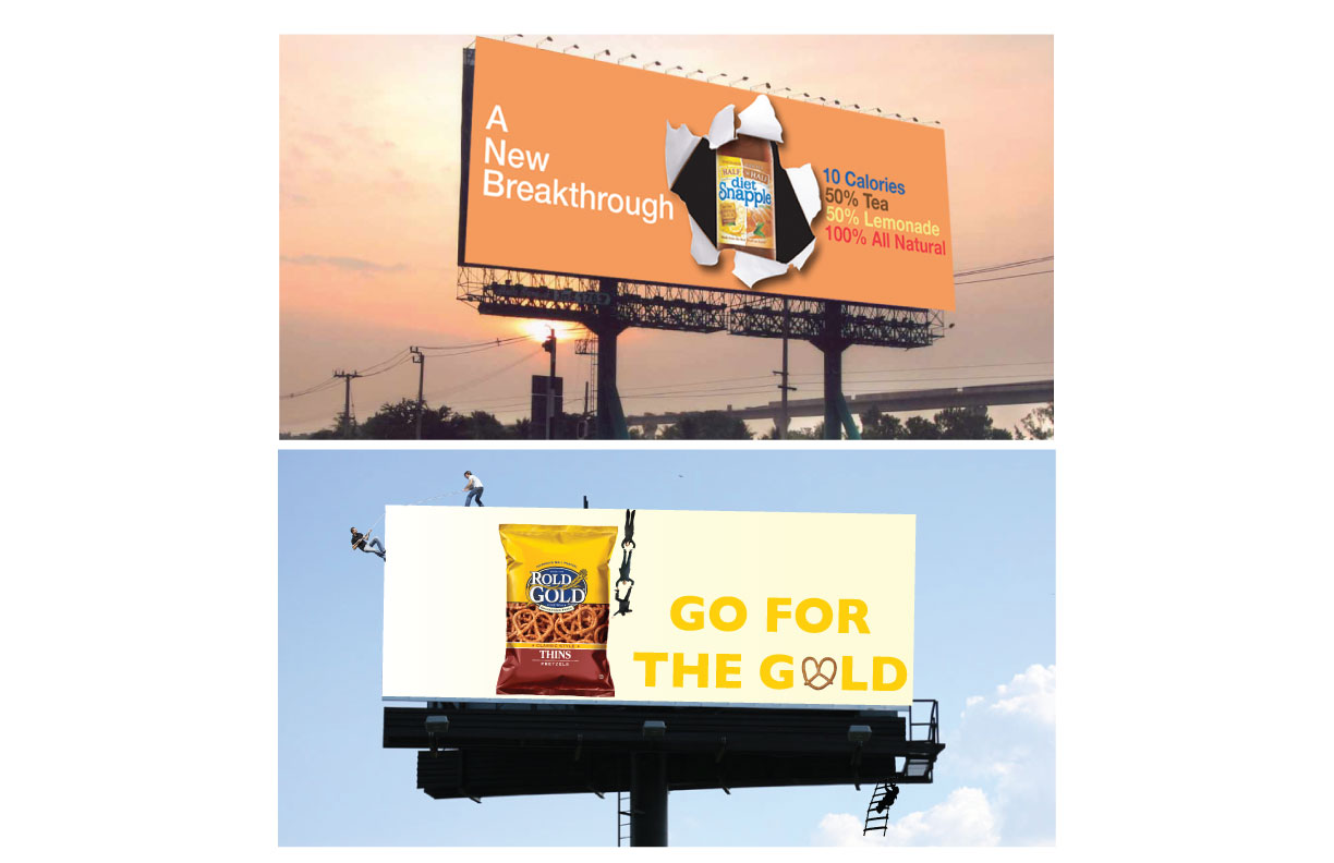 Snapple/Rold Gold billboard advertisements.