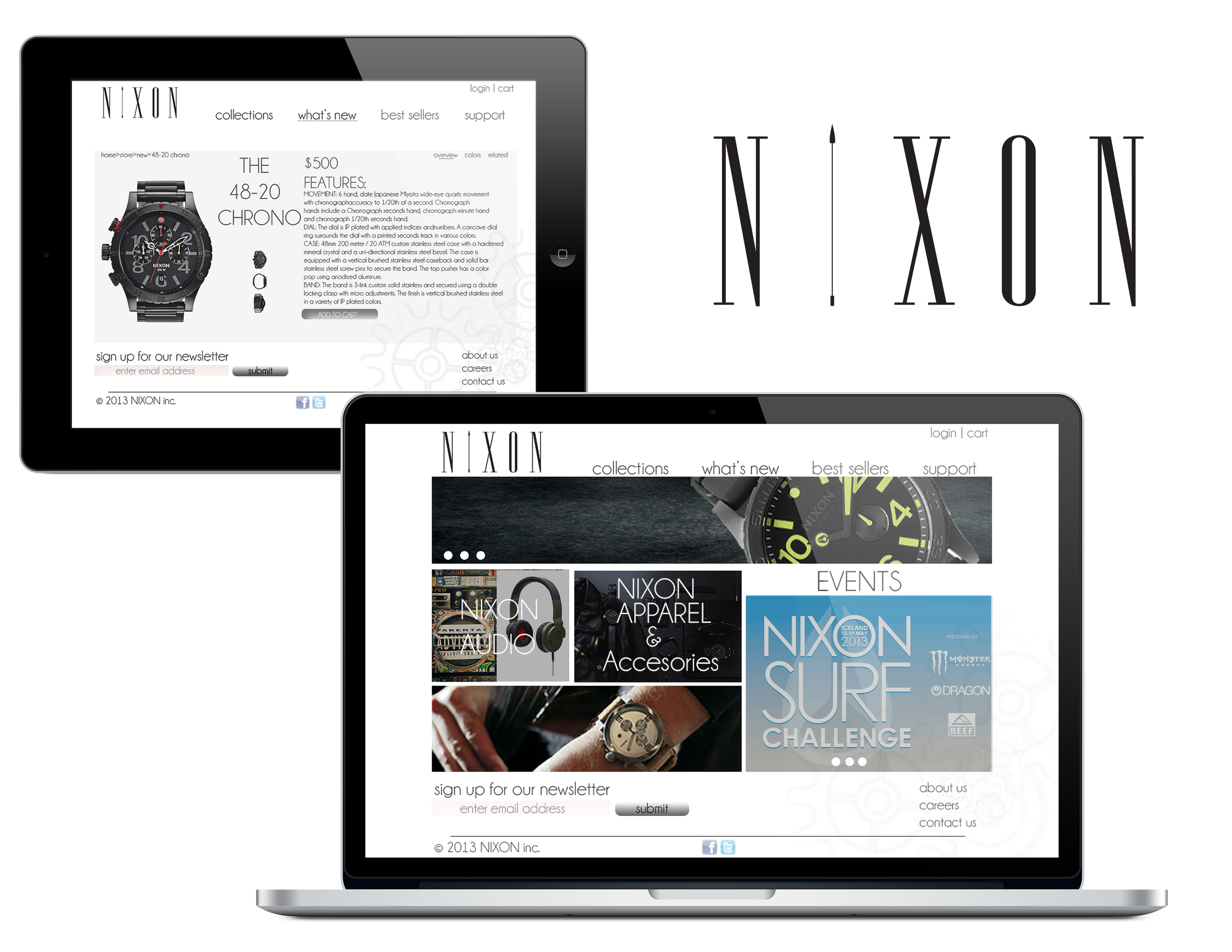 Nixon website/logo re-design.