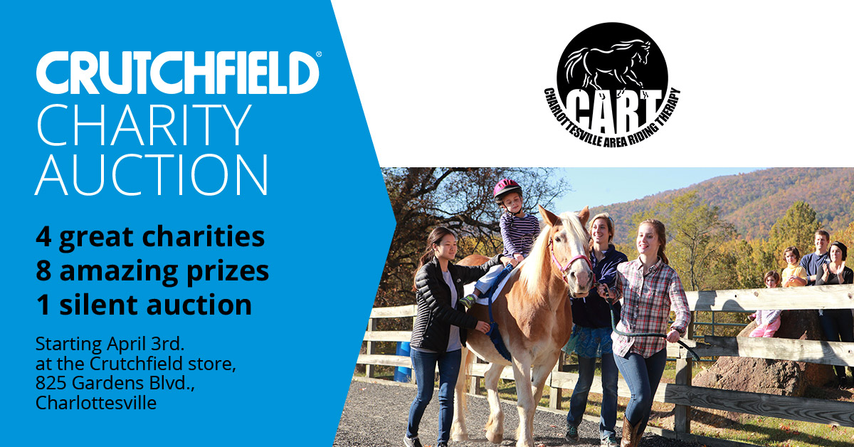 We're excited to be participating in Crutchfield's April/May Charity Auction! Stop by the Crutchfield store in Charlottesville to bid on great prizes and make sure you select CART as your charity. If you win an auction prize, your winning bid will go to CART!  This auction runs now through May 31st. On May 31st at 7PM, Crutchfield will announce the winners!