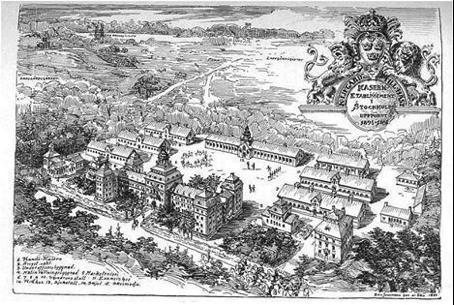 Postkort på den nyuppförda kavallerikasernen på Ladugårdsgärdet, 1898.
