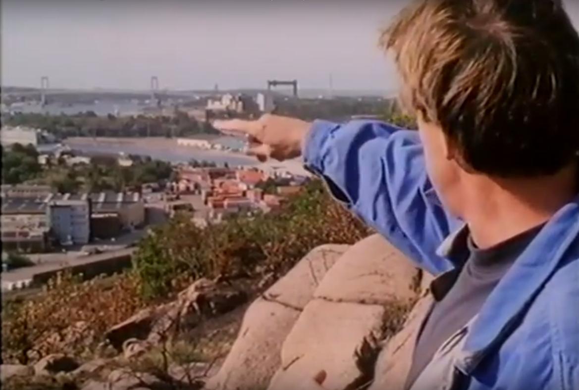 Visioner om stadens utveckling. Stillbild från  Den inre hamnen  (1988) av Michael Stenberg och Christoffer von Platen.