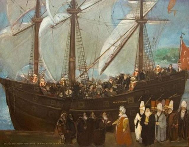 Målningen föreställer flyende judar som välkomnas av ottomaner, konstnären sägs vara Mevlut Akyildizk (Ottoman Imperial Archives).