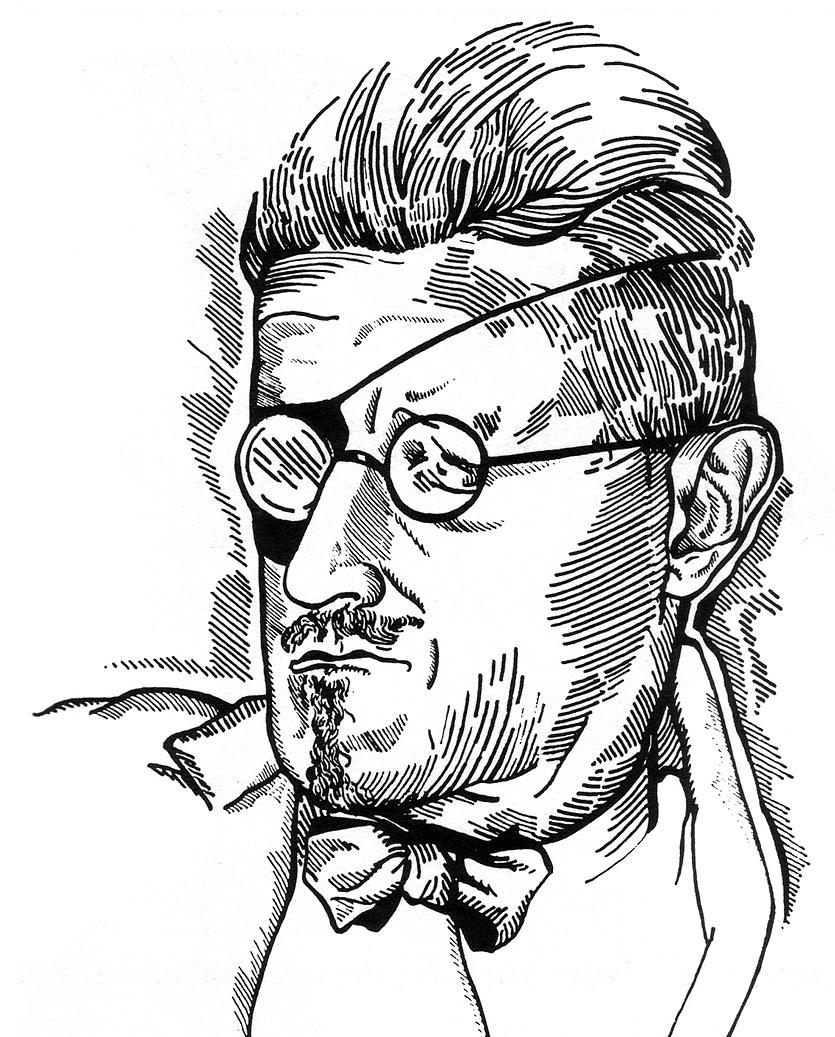 James Joyce, teckning av Djuna Barnes.