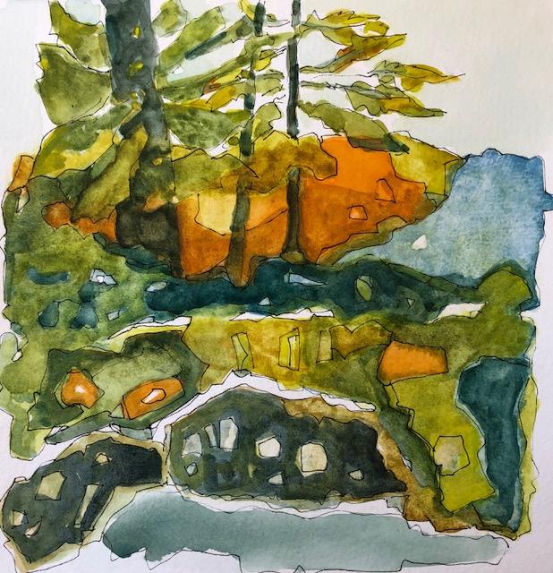 Rocks, water, trees