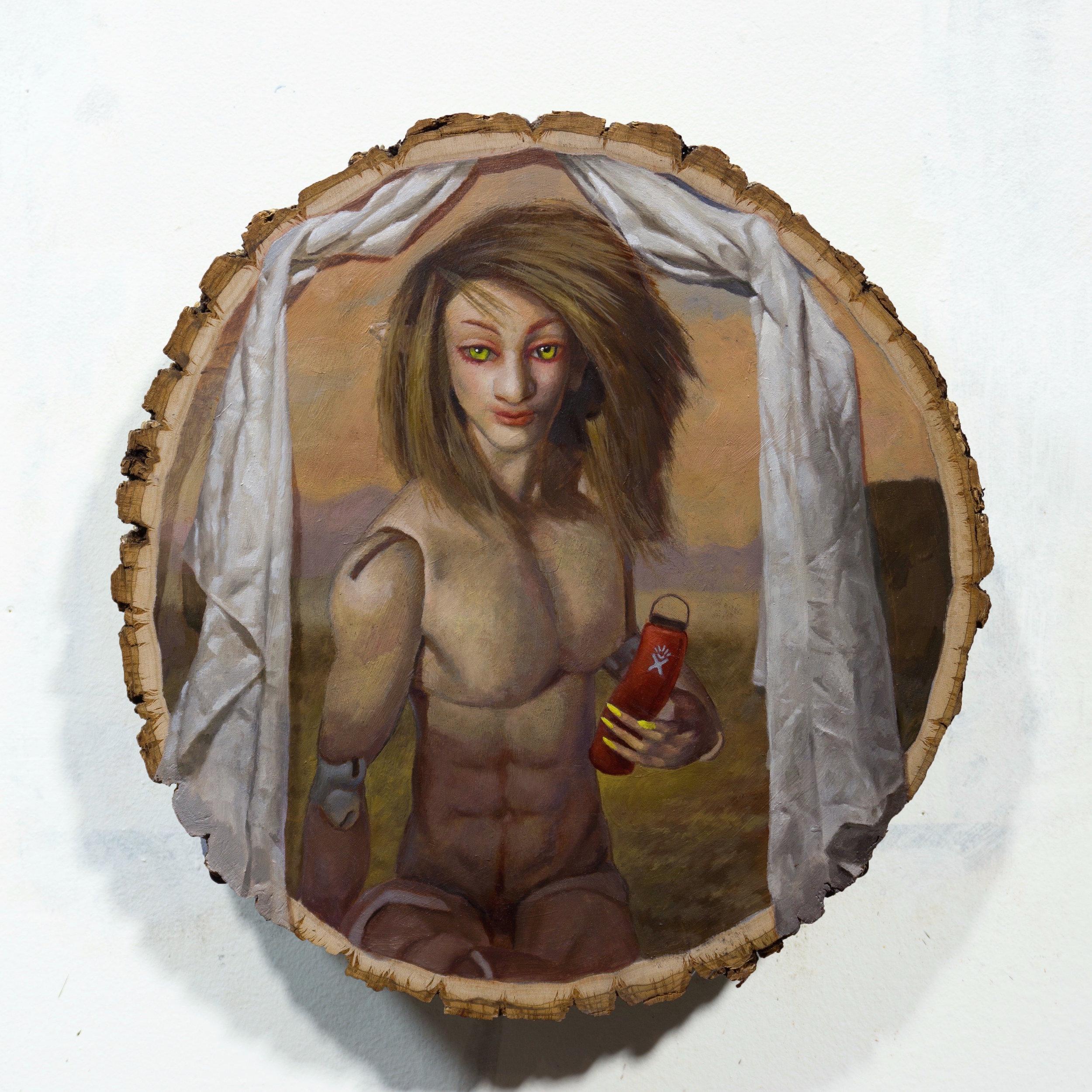 "Hydroflask #ad Oil on decorative wood disk 11x11x2"""