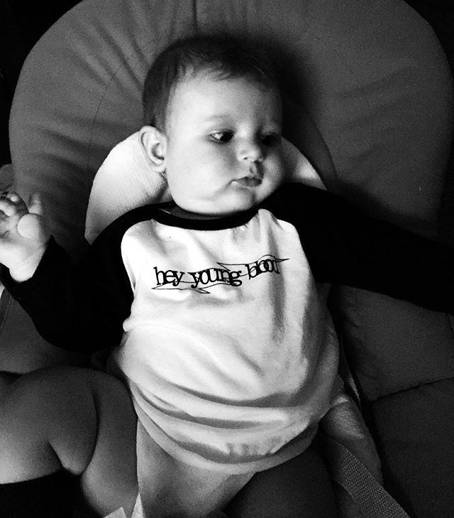 My adorable super fashionable little #italiancousin wearing his Gia's gift😍 @heyyoungbloodapparel #madeinphilly #woreinitaly #supportsmallshops #cutealert #mattia