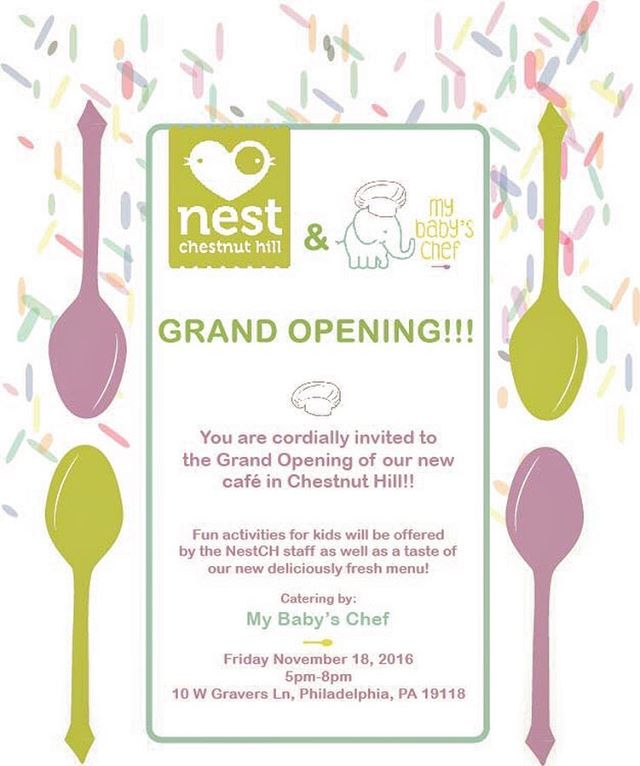 Please join us in celebrating the Grand Opening of our #sistercompany @mybabyschef We invite you and your family to join us on November 18th at 5:00PM at the @nest_chestnuthill location. Enjoy a delicious tasting of our menu, learn about our philosophy, meet the owners and take a tour of the cafe while your children have fun face-painting and partying with the amazing Nest Staff. RSVP link on Bio👆 Question or Press please contact Eleonora Barbieri at eleonora@mybabyschef.com  #grandopening #familycoffeeshop #farmtotable #chesnuthill #rsvponfb #chesnuthillpa #chestnuthillcafe #chestnuthillfamily #mtairyphilly #germantownphilly
