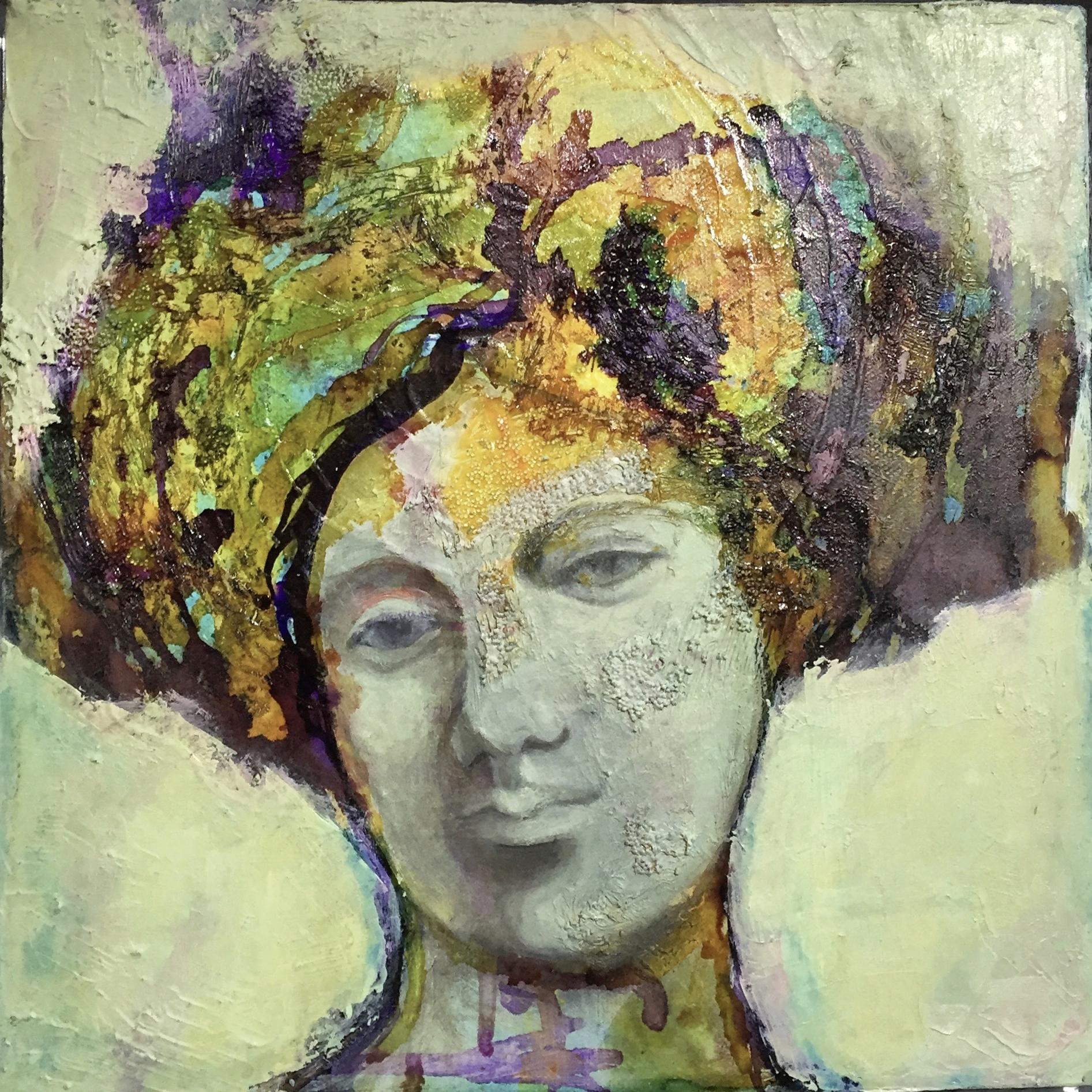 Head series -mixed media on canvas