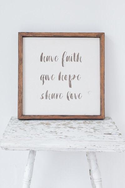 FAITH HOPE LOVE BARN WOOD SIGN - BRUSH LETTERING