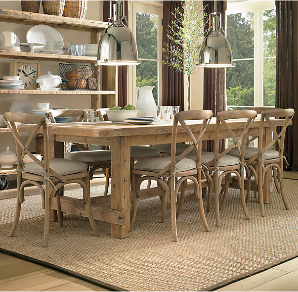RESTORATION HARDWARE SALVAGED WOOD FARMHOUSE TABLE     This Restoration Hardware table is dreamy! The color and style is so beautiful! It looks very natural, like it came straight out of a barn and ready to serve. ;)