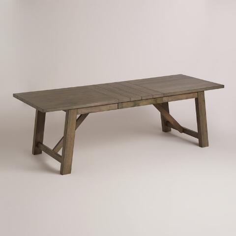 WORLD MARKET WOOD FARMHOUSE EXTENSION TABLE    This farmhouse table from World Market gives off a rustic and modern feel. It's affordable and extends to fit up to 8 people! I love the color!