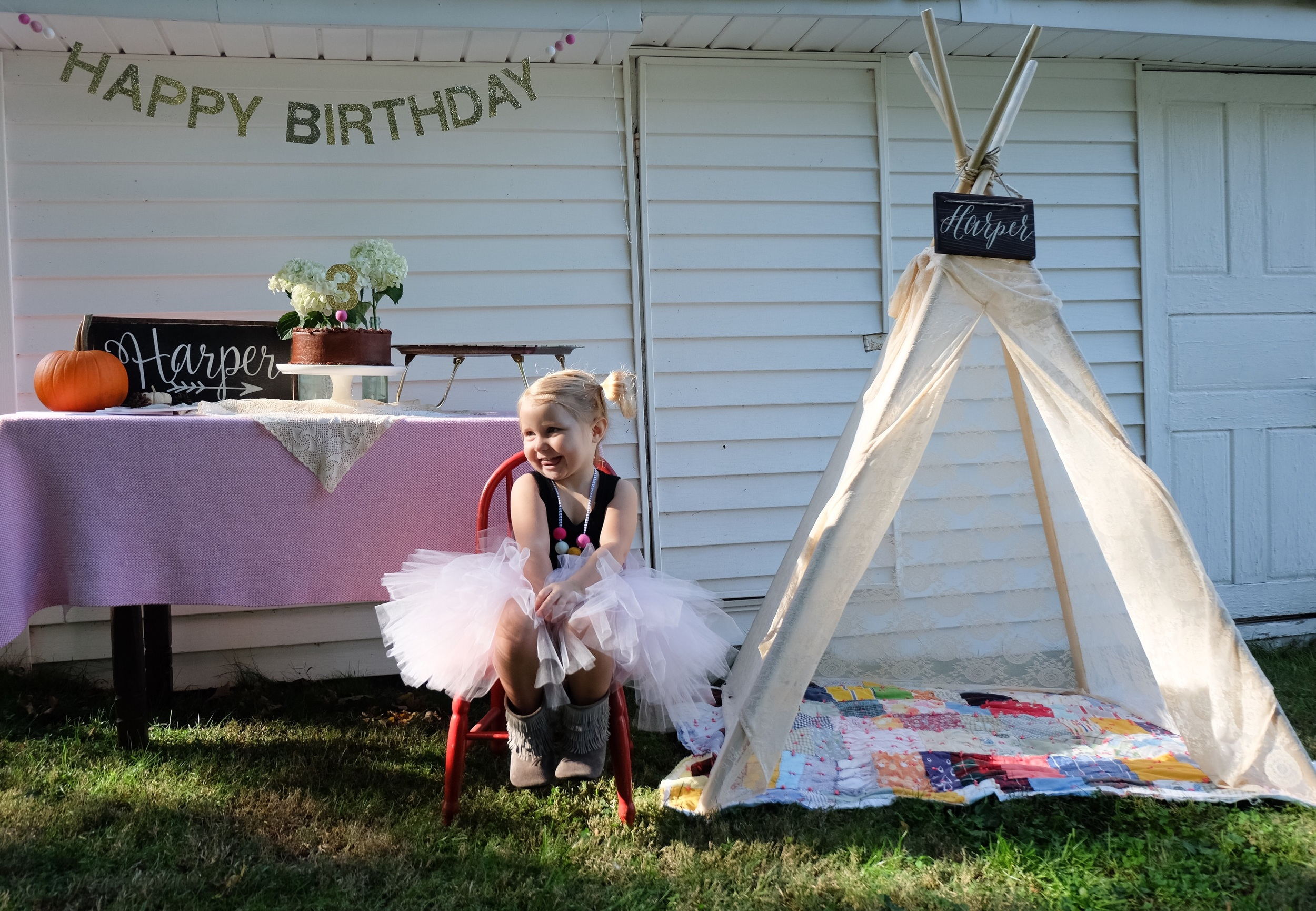 TIPI BY KNIGHT RAVEN TIPI CO !   www.knightraventipico.com   (@KNIGHT_RAVEN_TIPI_CO on INSTAGRAM)   Audrey's tipis are amazing. The quality is unreal and I love the VINTAGE feel!Harp absolutely loves her tipi and plays in it all the time. All our friends loved it!!I love how versatile it is!!   TUTU BY TREVI AVE CO!  www.treviaveco.etsy.com   (@TREVI_AVE_CO)   She felt like a real princess in her gorgeous tutu. I love how flowy it was! Everyday she asks if she can wear her tutu!    BOOTS BY GRACIOUS MAY!  www.graciousmay.com  (@GRACIOUS_MAY)   We have Gracious May boots in every color. They are her favorite and go with every outfit she has!!   HAPPY BIRTHDAY SIGN, CAKE TOPPER & NECKLACE BY LITTLE DOVIE !   www.littledovie.com  (@LITTLEDOVIE)   Little Dovie is so sweet!! She sent them to me last minute! They are so beautiful. The gold glitter was exactly what I was looking for. Harper just kept saying how pretty they were! Just look at that necklace!!   HARPER SIGNS FROM THE PAINTED NEST!  www.etsy.com/shop/thepaintednestor  (@THEPAINTEDNEST)   The signs are so unique and I loved how they tied in all the decorations!! I'm excited because we can hang them in her big girl room! The arrow is my favorite!!   CAKE HOLDER IS BY SCHOOLHOUSE ELECTRIC!!  www.schoolhouseelectric.com  (@SCHOOLHOUSE)    Schoolhouse Electric is so fabulous. I love the quality of everything they make. They have gorgeous pieces, especially this cake holder!!  Everything else is vintage!