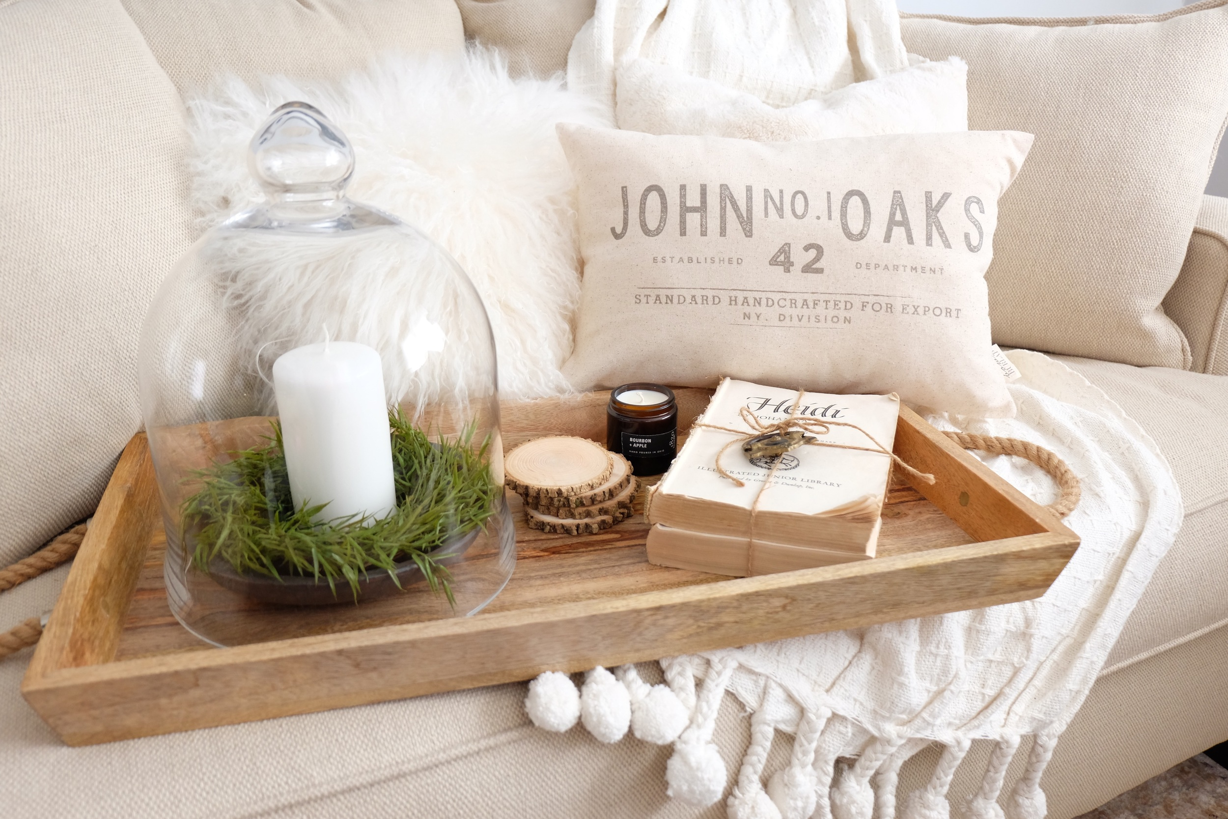 Everything!!   (A candle from 1820 House, A pillow cover from Bows & Burlap, home sign from Vintage Metal Co. A pom Pom throw, an 8x10 home framable print, a set of 4 wooden coasters, a replica dough bowl, and a Carolina fill wreath!)