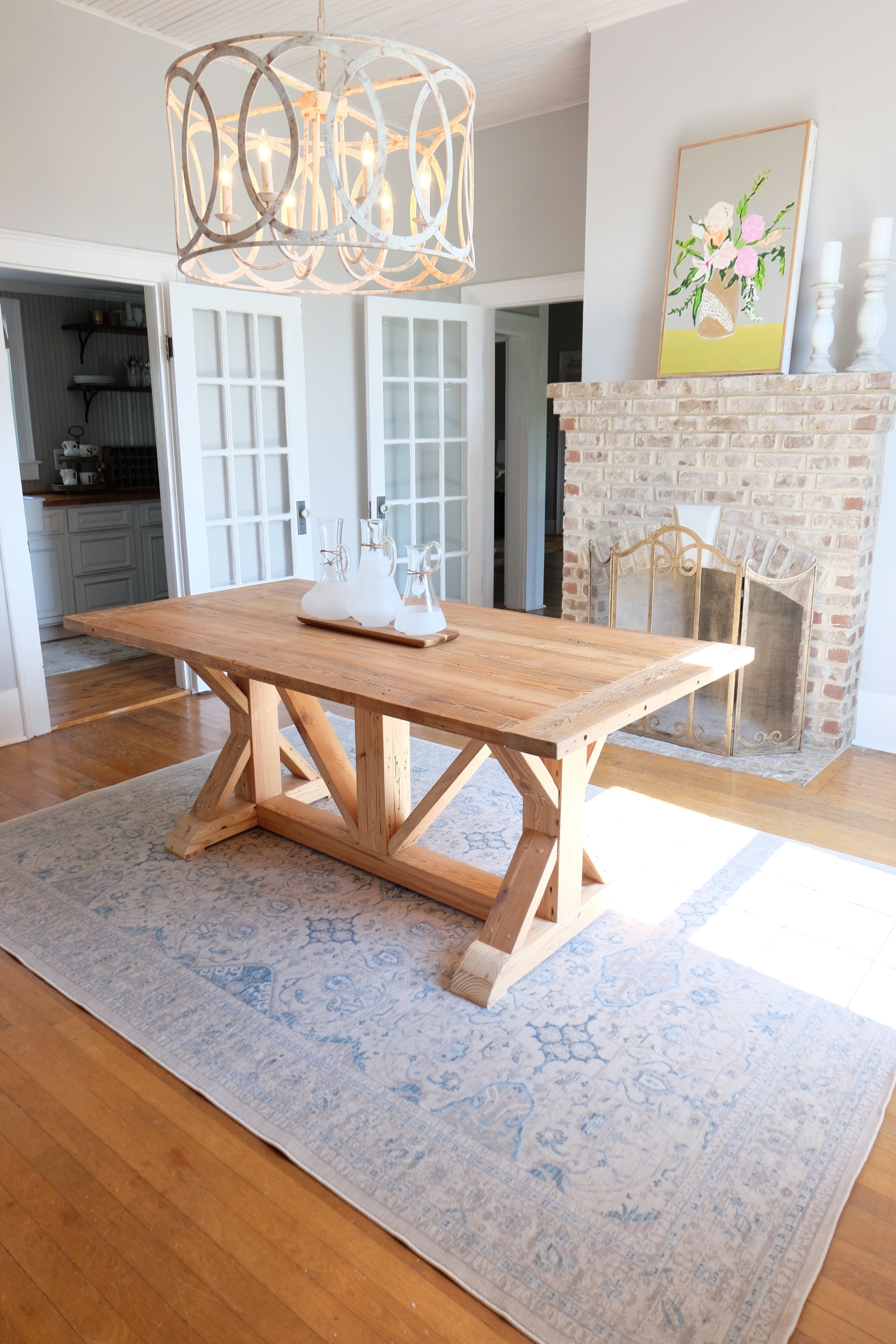 Our beautiful table is from   Lamon Luther  . It is made from plantation pine. They make such beautiful pieces. This one is hands down my favorite of theirs!