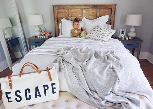 imagine a world where you eat ice cream sandwiches in bed every single night! that's my kinda perfect. 🍦 there are pieces of our @paintedfoxhome line in this picture! hint: One makes you want to getaway and the other has a lot of love! we're giving you a first look at everything in our live video tomorrow and can't wait! sweet dreams✨. #farmhouse #bedroomdecor