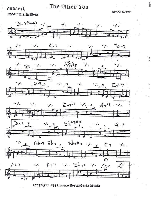 Originally recorded on Blueprint, Freelance Records of Paris, 1991, Reissued on Evidence Music, ECD-22196-2 with John Abercrombie, Jerry Bergonzi, Joey Calderazzo and Adam Nussbaum (Bruce Gertz Quintet)