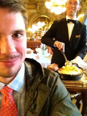 Selfie: Me and our garçon while he cut my lamb...