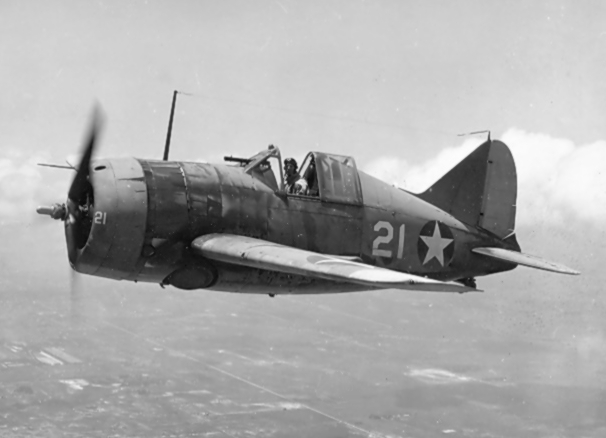A U.S. Navy Brewster F2A-3 fighter piloted by LCdr. Joseph C. Clifton, in 1942.