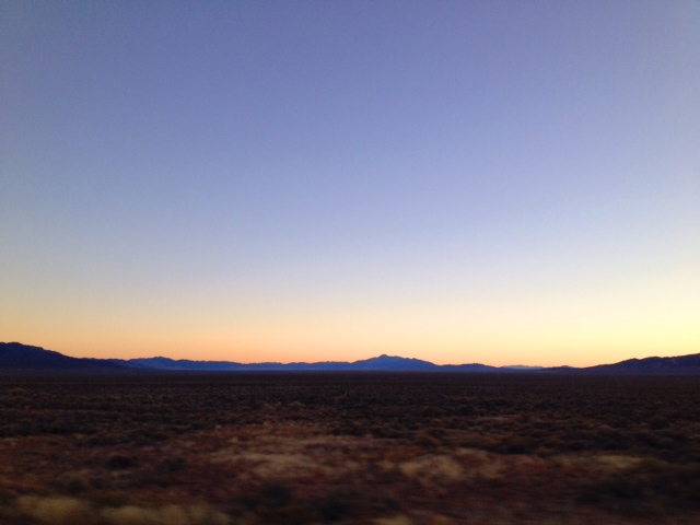 The evening glow over the mountains in Wyoming.