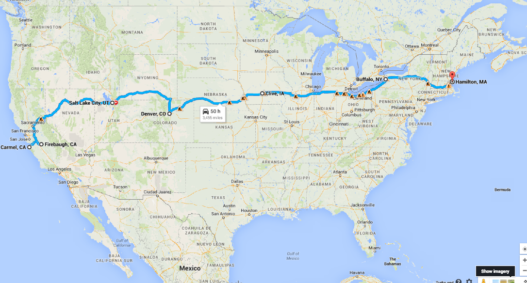 Map of Cross Country Road Trip From California to Boston