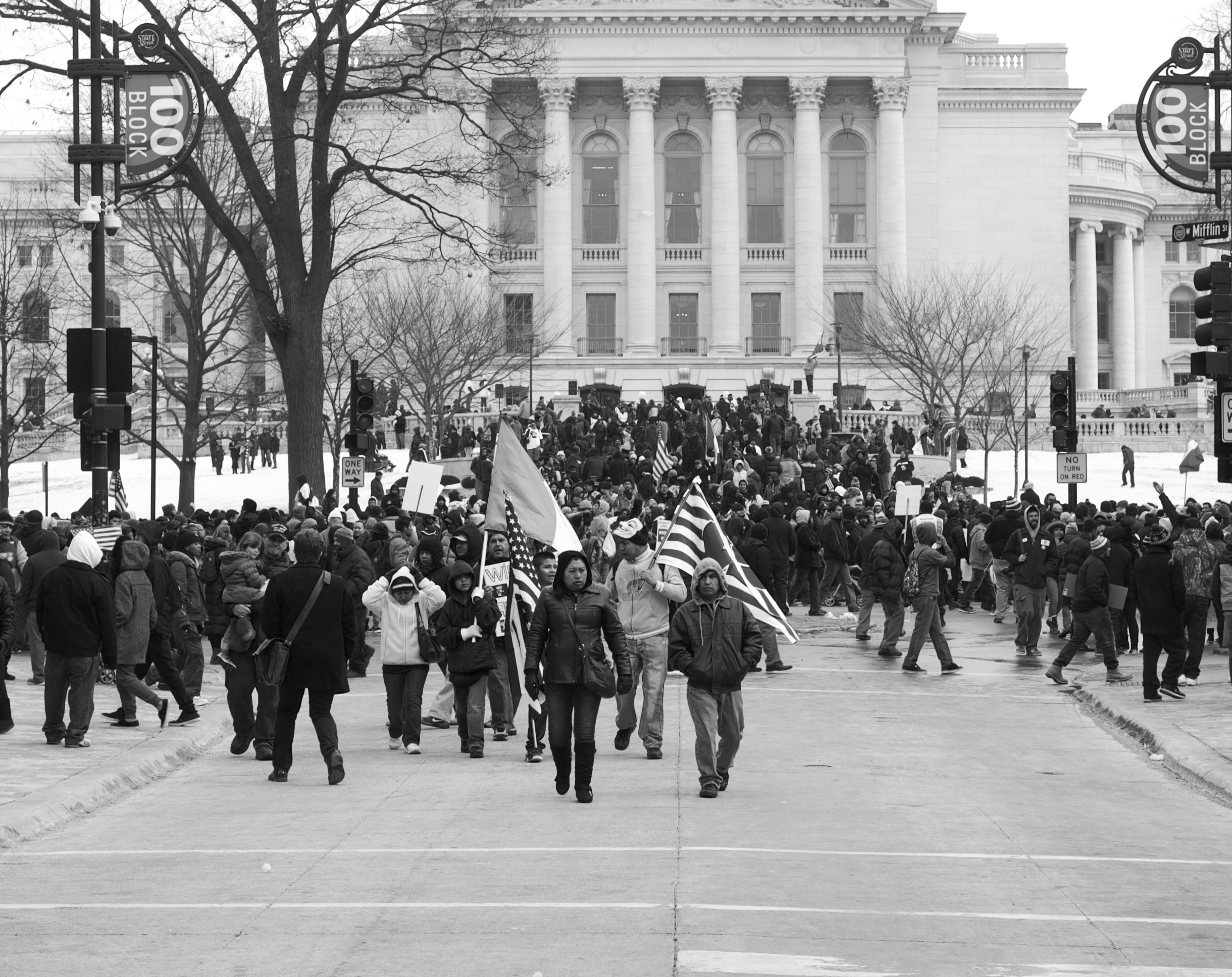 "Marchers. Capitol Square. Madison, Wisconsin. February 2016. Marchers at the ""Day Without Latinos and Immigrants"" rally. © William D. Walker"