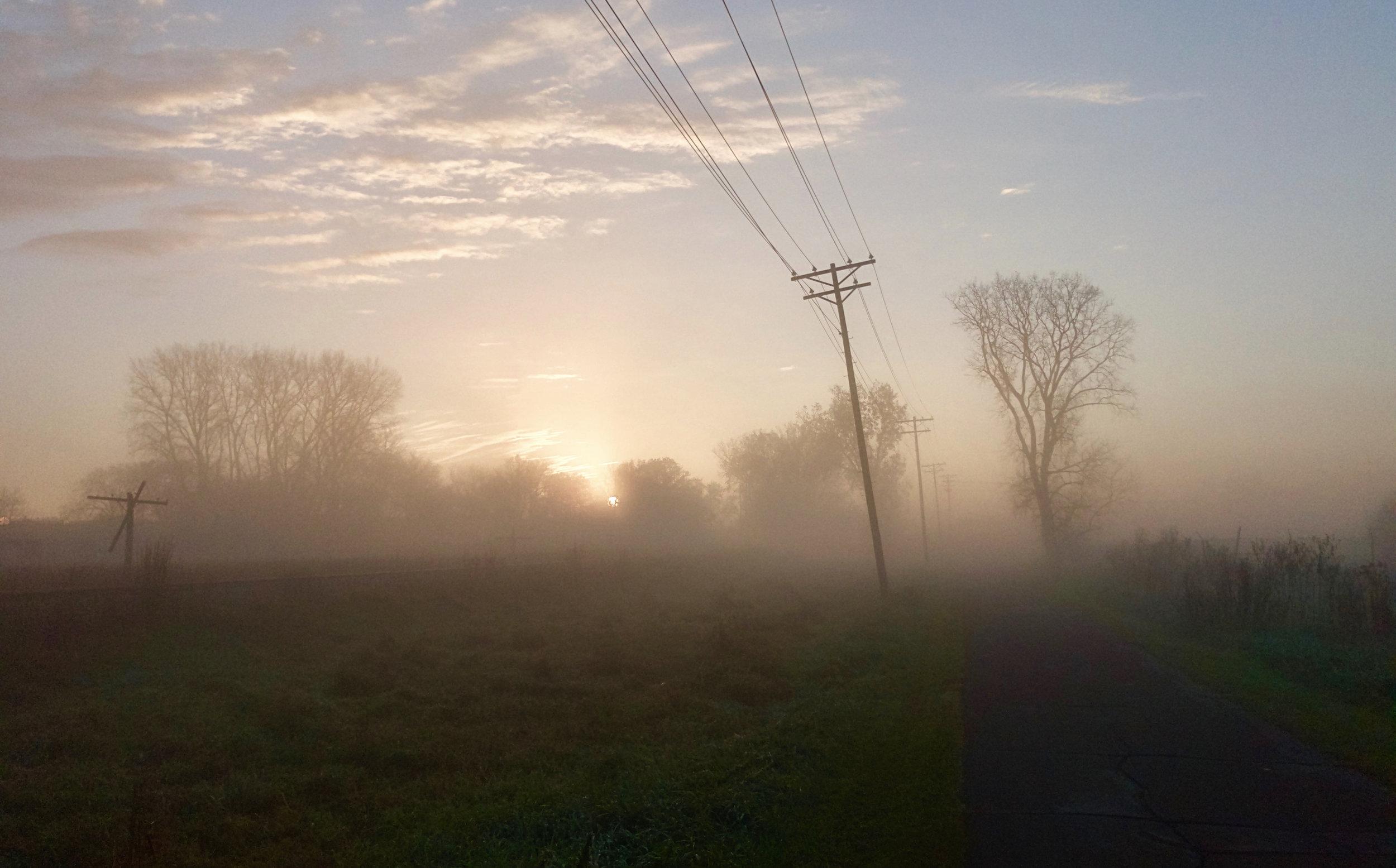 Sunrise. Capital City Trail. Madison, Wisconsin. November 2016. © William D. Walker