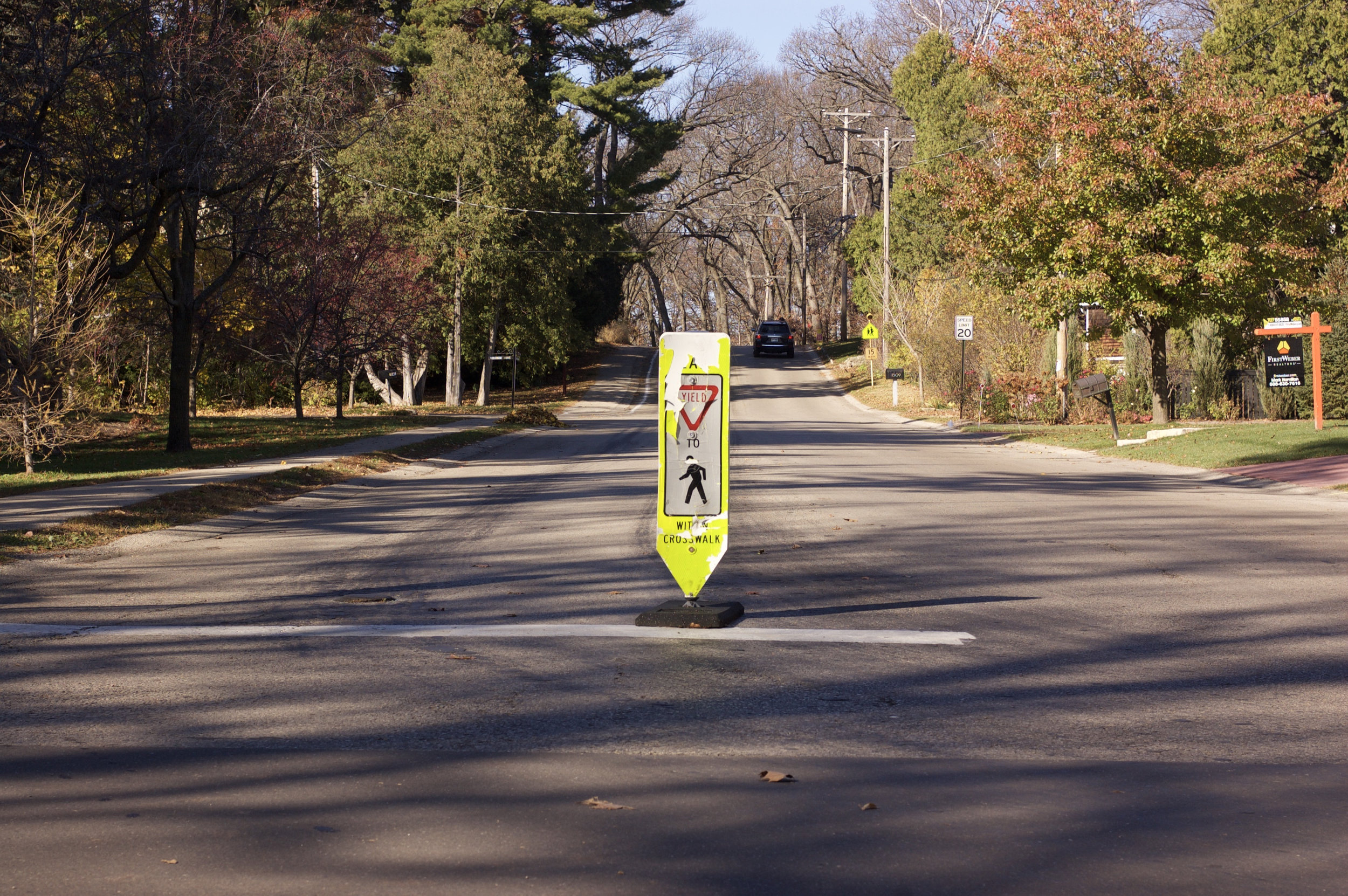 Crosswalk. Shorewood Hills, Wisconsin. November 2015. © William D. Walker