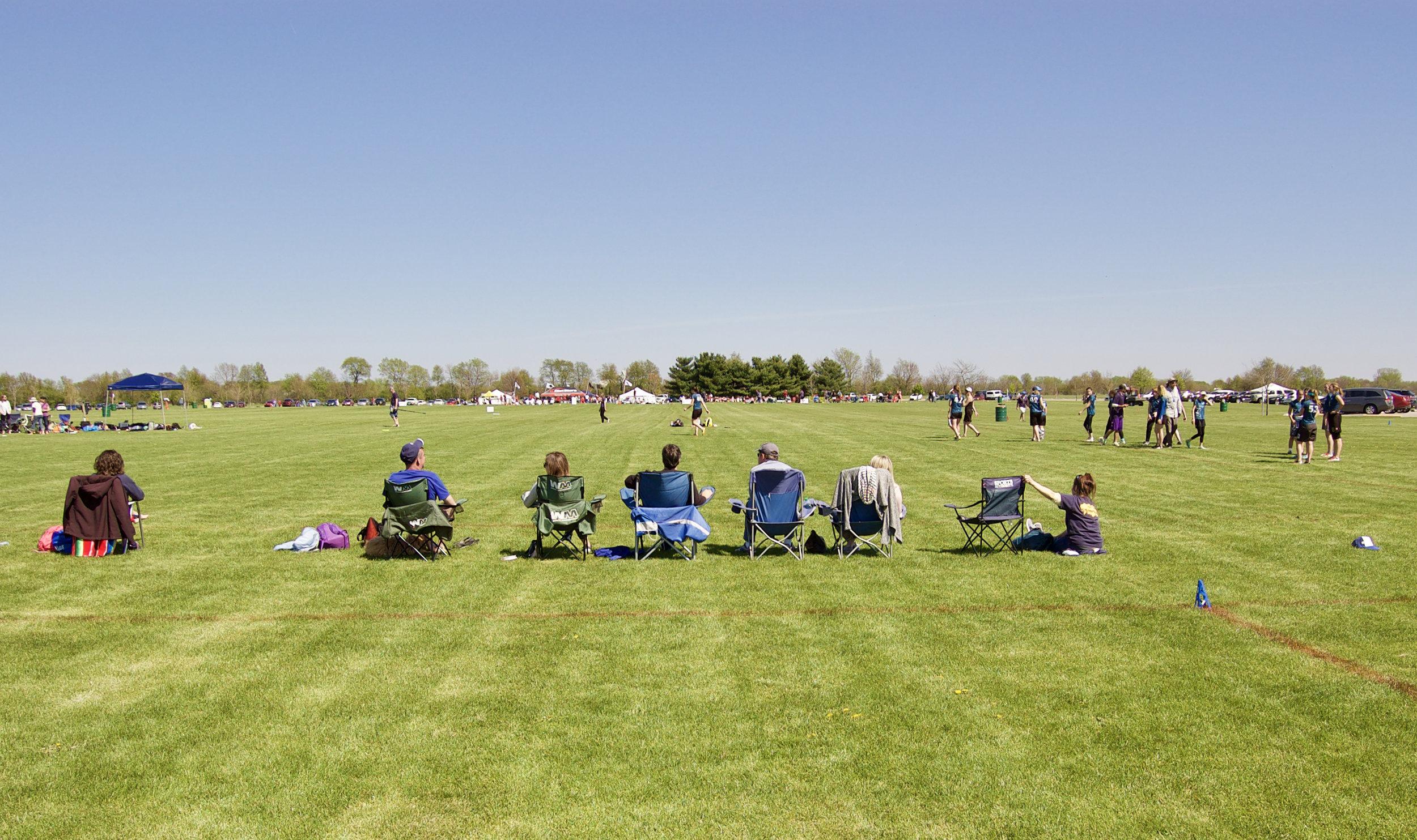 Folding Chairs. Stuarts Sports Complex. Montgomery, Illinois. April 2017. © William D. Walker