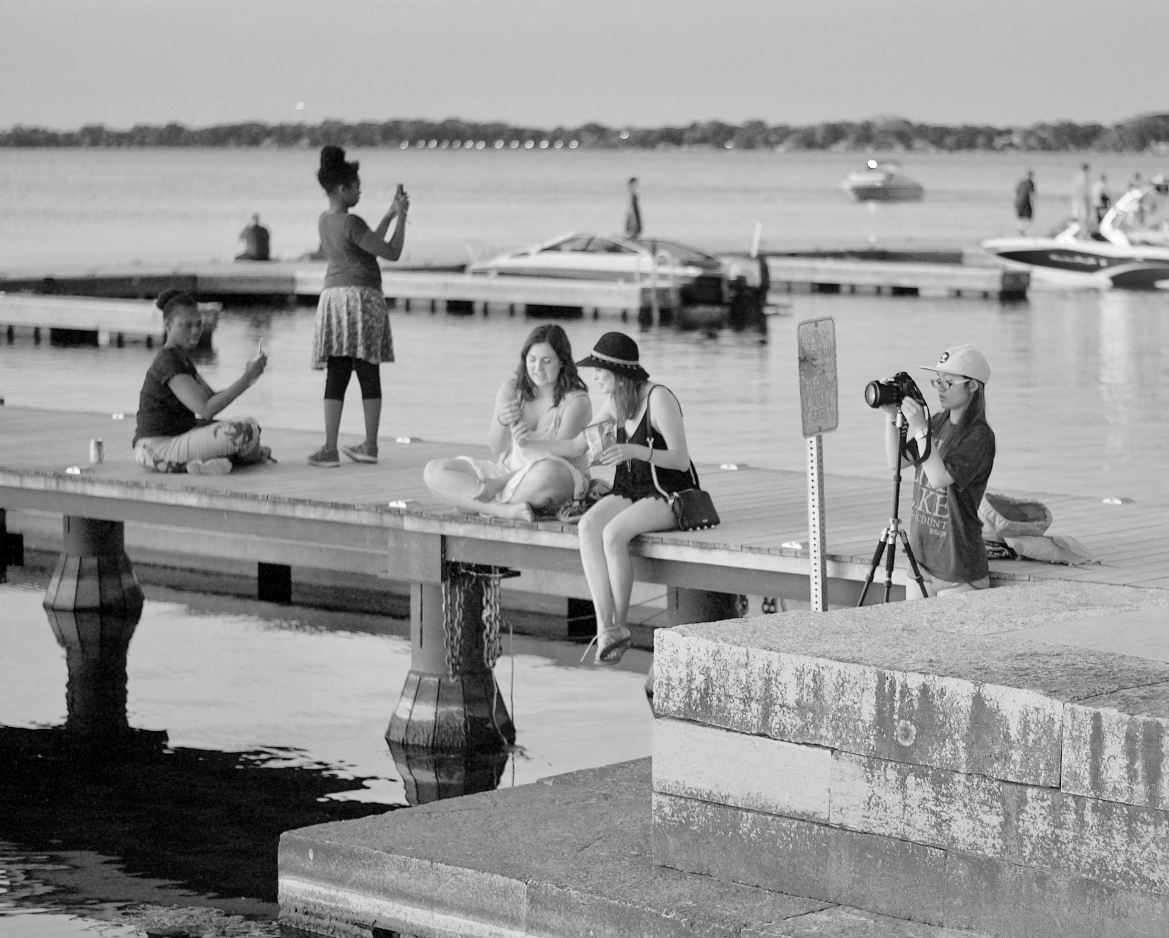 Five Photographers. Memorial Union. Madison, Wisconsin. June 2017. © William D. Walker
