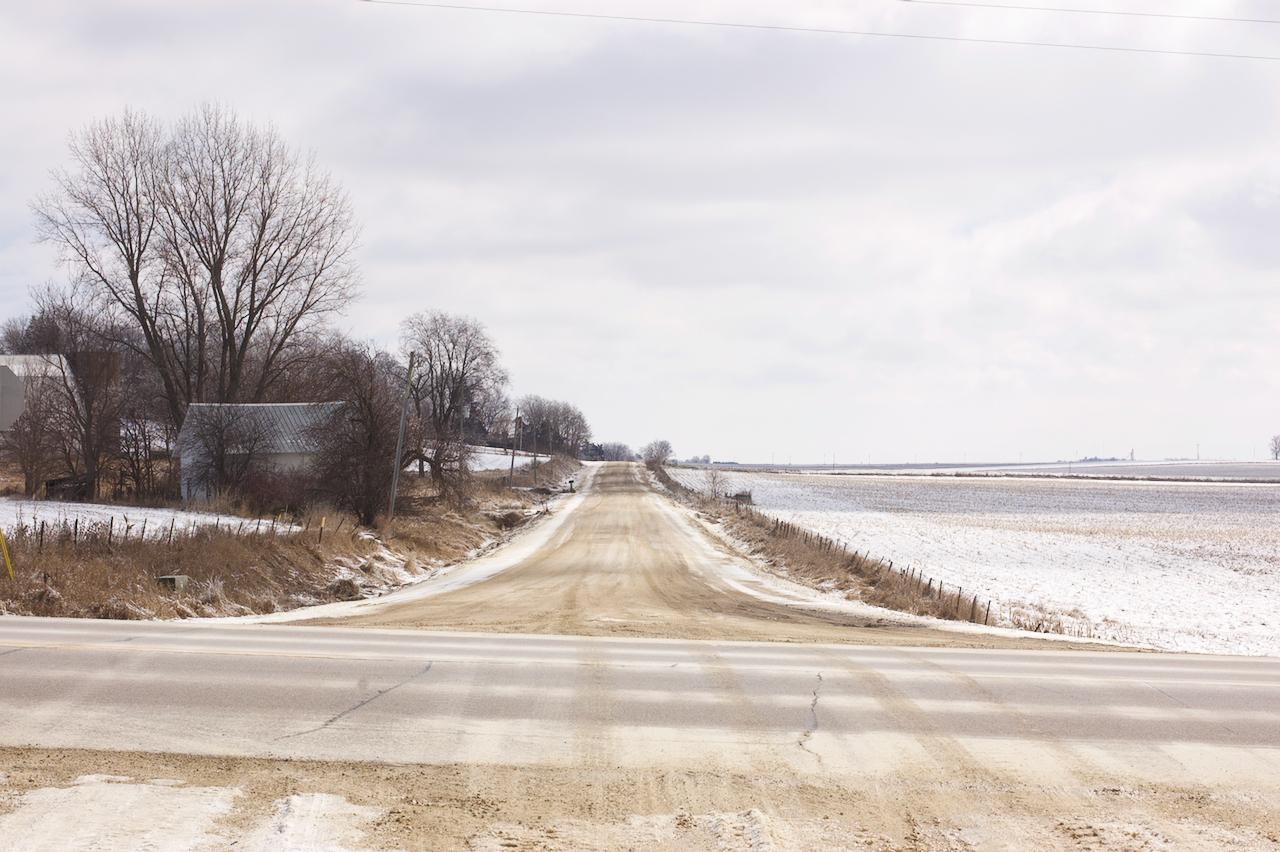 Crossing Gravel. Mount Vernon, Iowa. February 2018. © William D. Walker