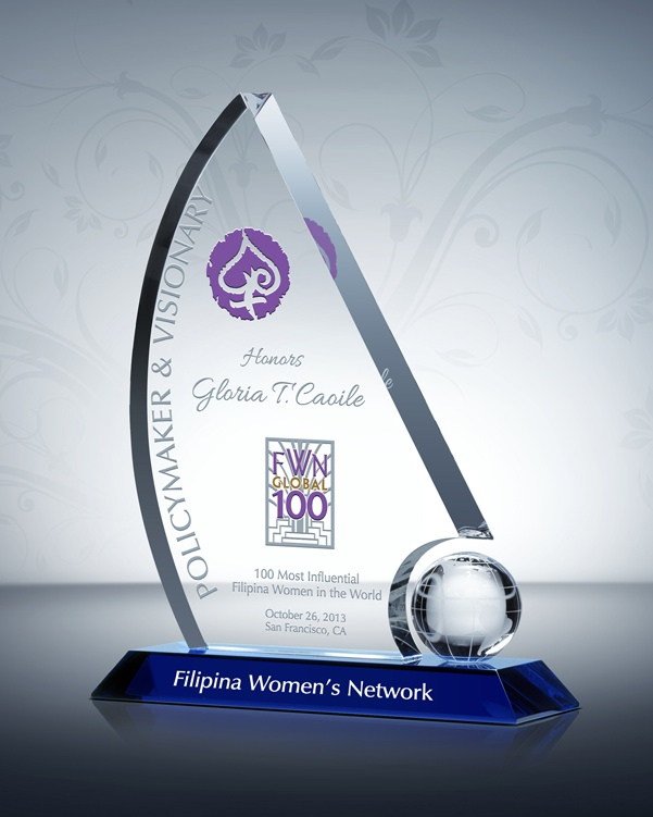 The FWN Global100™ Award crystal trophy