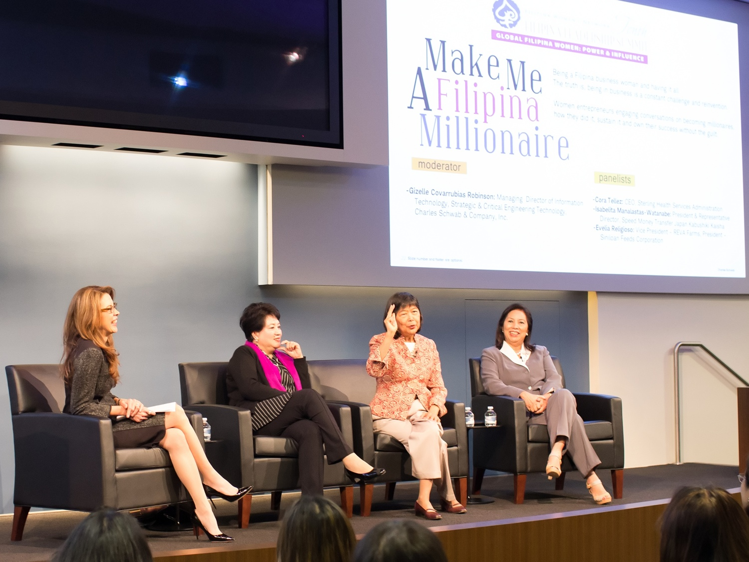 (L to R) Gizelle Covarrubias Robinson, IT Managing Director, Charles Schwab moderating the Make Me A Filipina Millionaire Panel with speakers Lita Manalastas Watanabe, President, Speed Money Transfer Japan Kabushiki Kaisha; Cora Tellez, President and CEO, Sterling HSA; Evelia V. Religioso, President, Siniloan Feeds Corporation; Owner & Vice President, REVA Farms; Director, Rural Bank of Mabitac Inc.; Chairman, Siniloan Water District