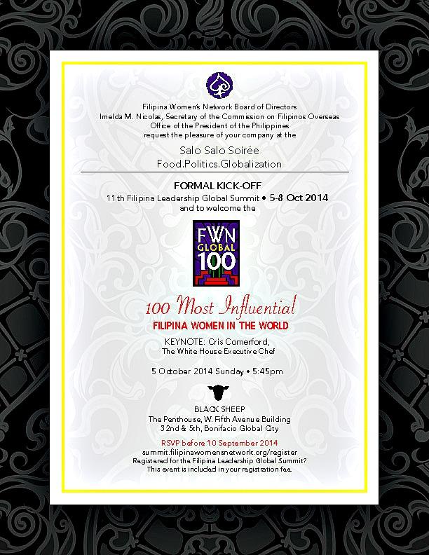 Salo Salo Soirée to formally kick-off the 11th Filipina Leadership Summit * Oct 5-8, 2014 @ Manila, Philippines